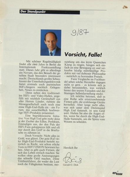 Hifi Vision 9/1987 Zeitschrift