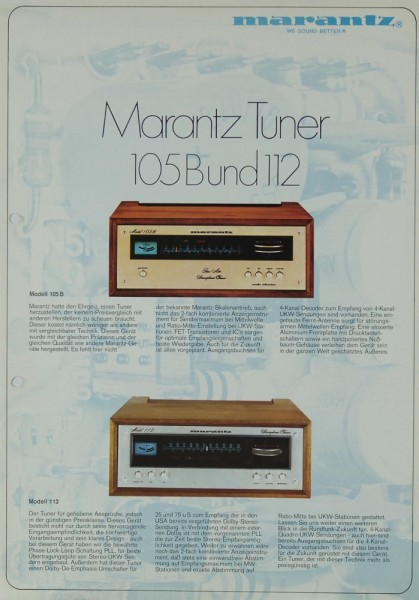 Marantz 105 B / 112 Prospekt / Katalog