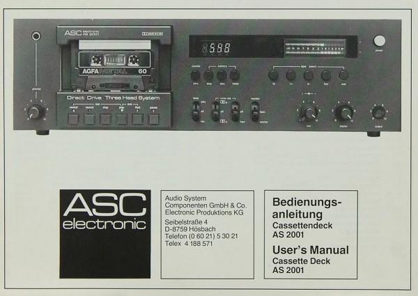 ASC AS 2001 Bedienungsanleitung