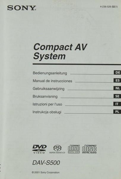 Sony DAV-S 500 Bedienungsanleitung