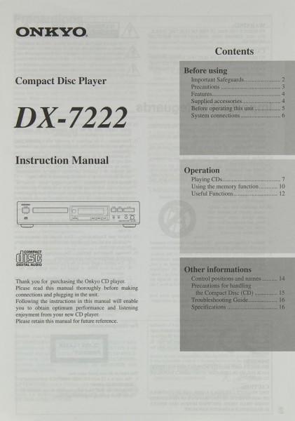 Onkyo DX-7222 Bedienungsanleitung