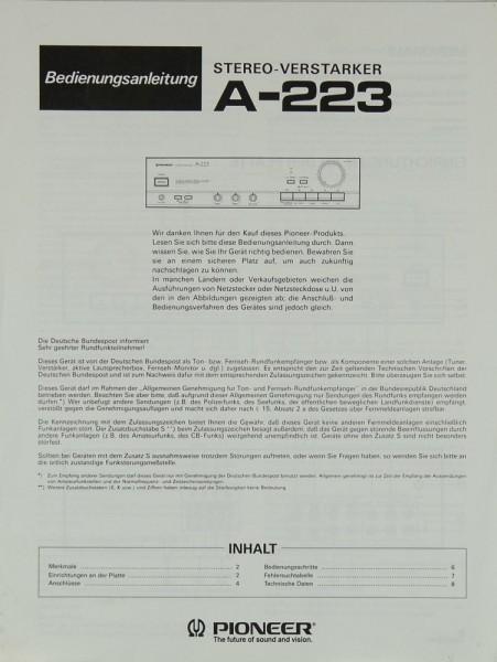 Pioneer A-223 Bedienungsanleitung