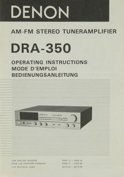 Denon DRA-350 Bedienungsanleitung