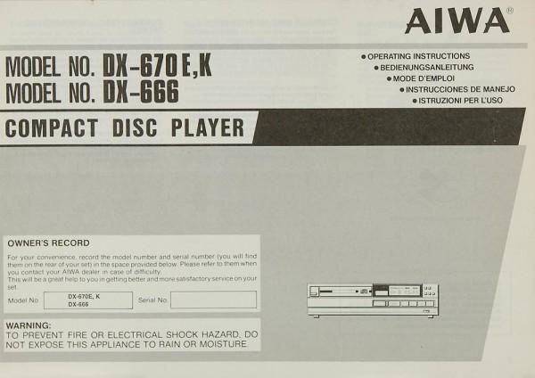 Aiwa DX-670 E/K / DX-666 Bedienungsanleitung