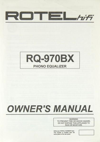 Rotel RQ-970 BX Bedienungsanleitung