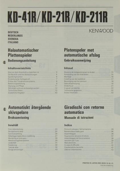 Kenwood KD-41R / KD-21R / KD-211R Bedienungsanleitung