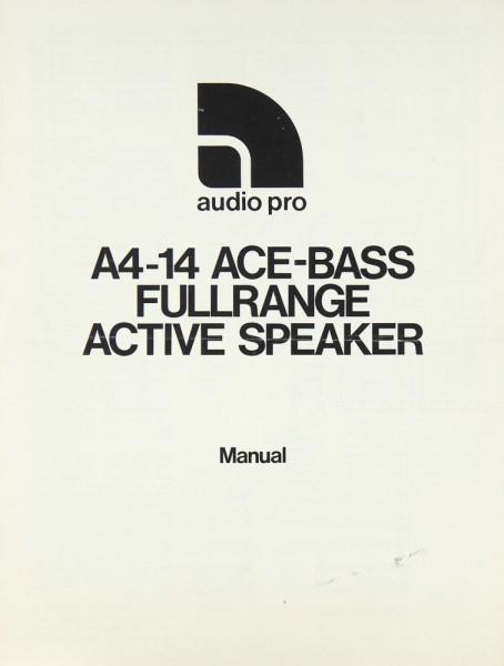Audio Pro A 4-14 Bedienungsanleitung