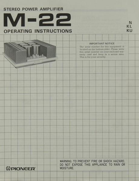 Pioneer M-22 Bedienungsanleitung
