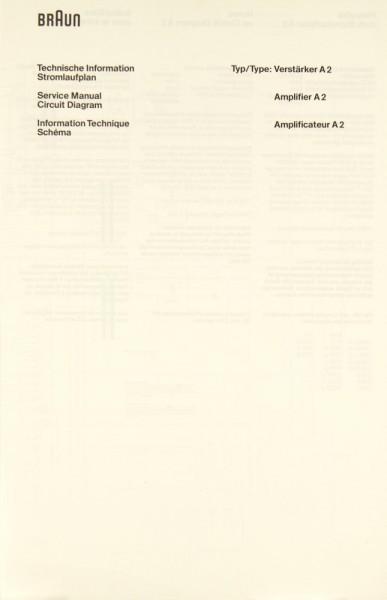 Braun A 2 Schaltplan / Serviceunterlagen