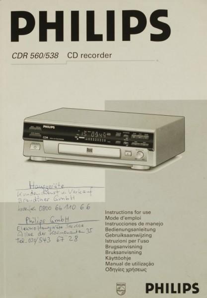 Philips CDR 560/538 Bedienungsanleitung