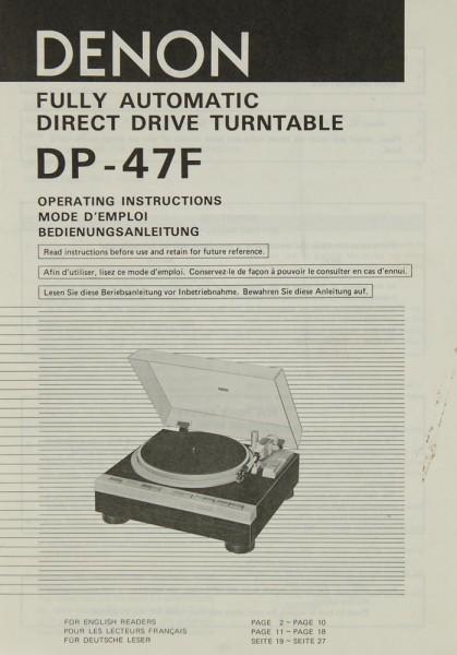 Denon DP-47 F Bedienungsanleitung