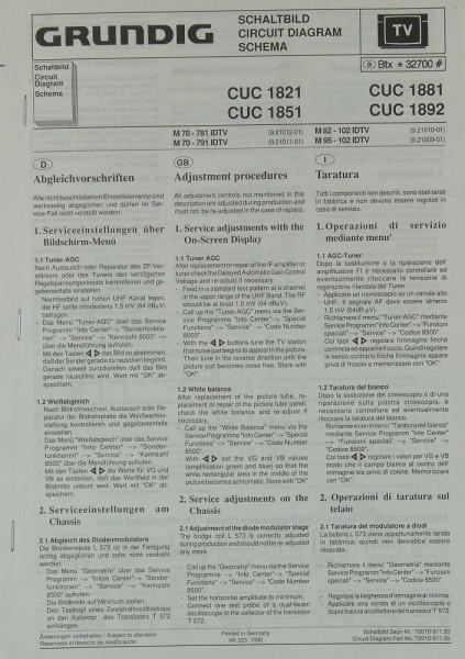 Grundig CUC 1821 / CUC 1851 / CUC 1881 / CUC 1892 Schaltplan / Serviceunterlagen