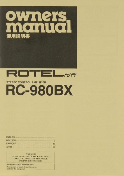 Rotel RC-980 BX Bedienungsanleitung