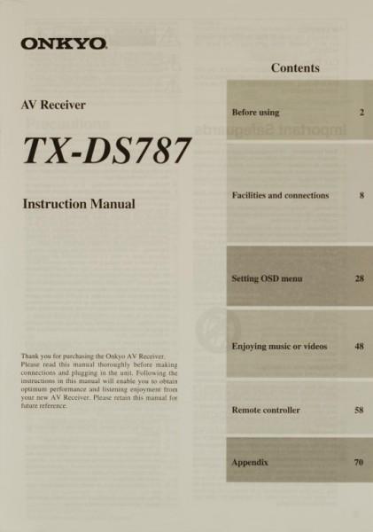 Onkyo TX-DS 787 Bedienungsanleitung