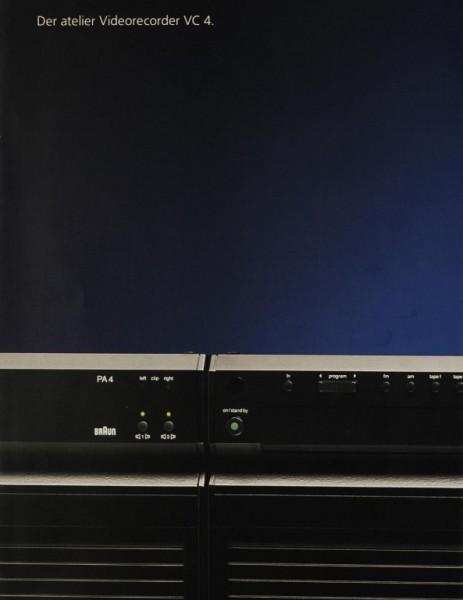 Braun VC 4 - Der atelier Videorecorder Prospekt / Katalog