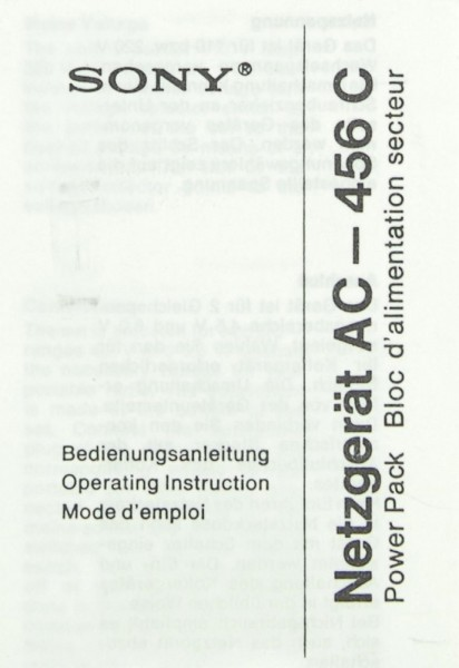 Sony AC-456 C Bedienungsanleitung