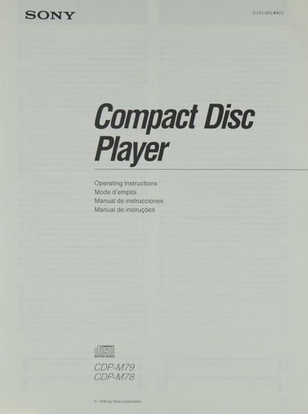 Sony CDP- M 79 / M 78 Bedienungsanleitung