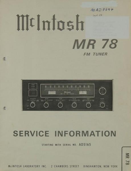 McIntosh MR 78 Schaltplan / Serviceunterlagen