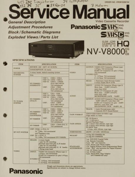 Panasonic NV-V 8000 Schaltplan / Serviceunterlagen
