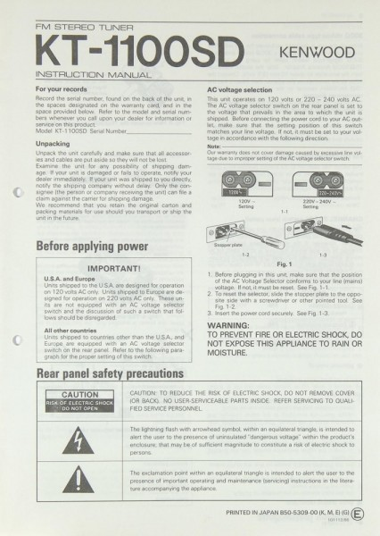 Kenwood KT-1100 SD Bedienungsanleitung