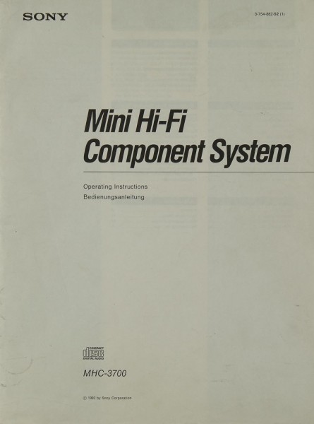 Sony MHC-3700 Bedienungsanleitung