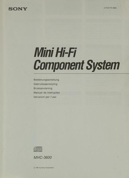 Sony MHC-3600 Bedienungsanleitung
