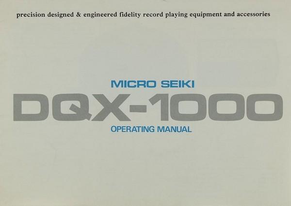 Micro Seiki DQX-1000 Bedienungsanleitung