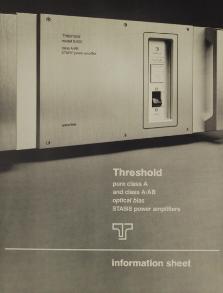 Threshold Models: SA/1 SA/2 SA/3 S/200 S/300S/500 Prospekt / Katalog