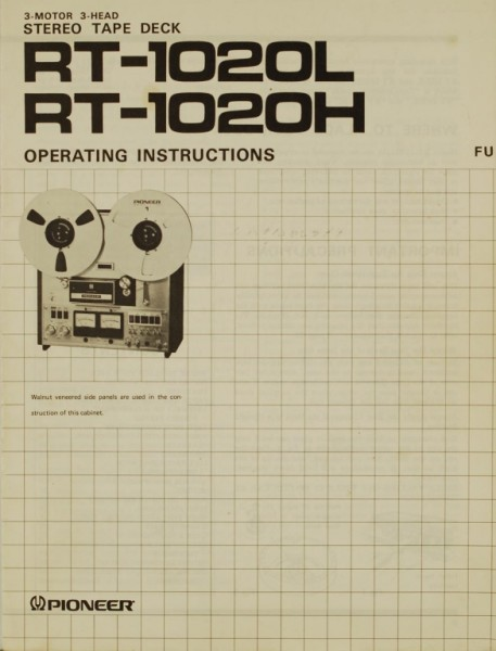 Pioneer RT-1020 L / RT-1020 H Bedienungsanleitung