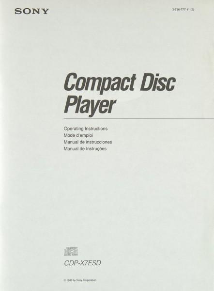 Sony CDP-X 7 ESD Bedienungsanleitung