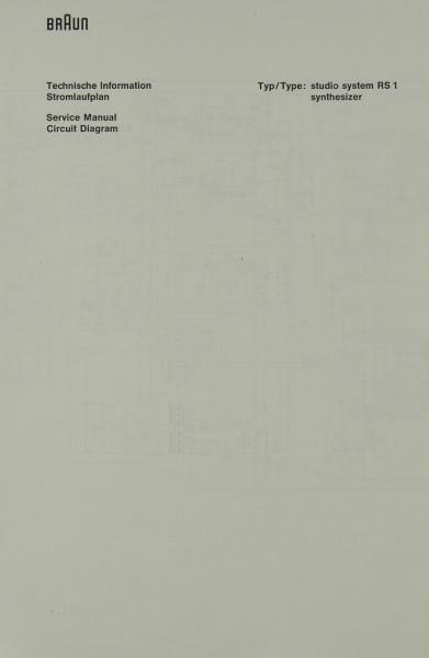 Braun RS 1 Schaltplan / Serviceunterlagen