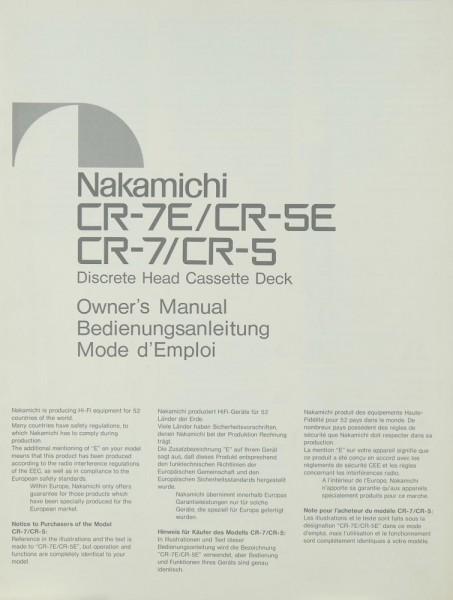 Nakamichi CR-7 E / CR-5 E / CR-7 / CR- 5 Bedienungsanleitung
