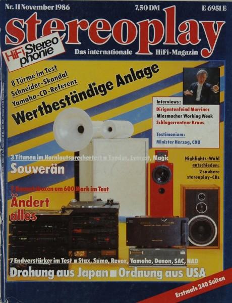 Stereoplay 11/1986 Zeitschrift