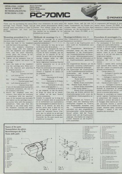 Pioneer PC-70 MC Bedienungsanleitung