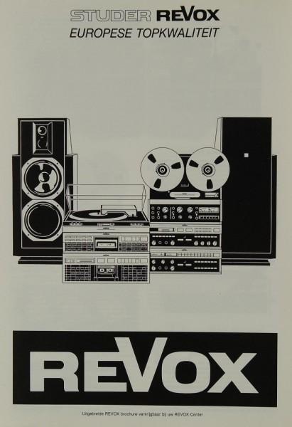 Revox Europese Topkwaliteit Prospekt / Katalog