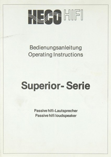 Heco Superior-Serie Bedienungsanleitung