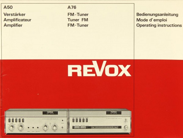 Revox A 50 / A 76 Bedienungsanleitung