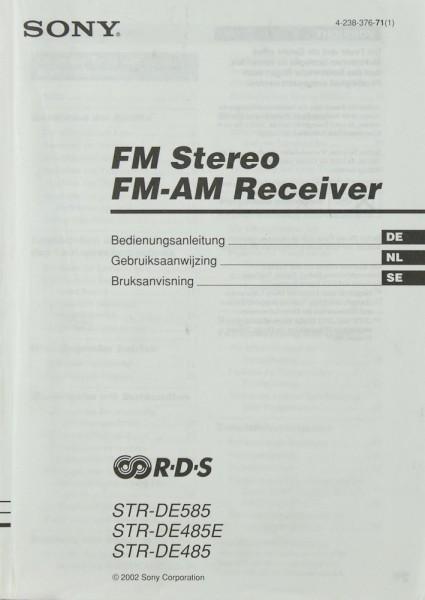 Sony STR-DE 585 / STR-DE 485E / STR-DE 485 Bedienungsanleitung