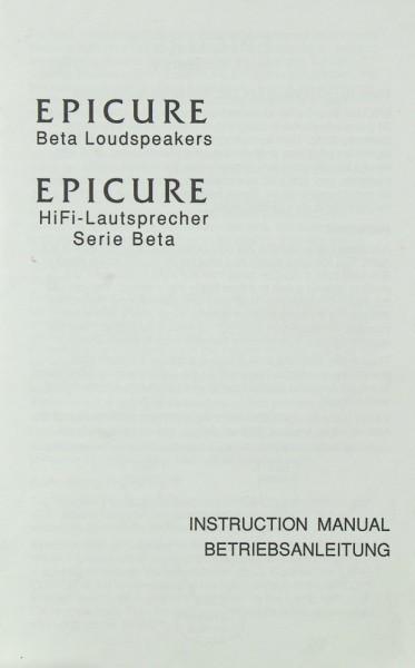 Epicure Beta Serie Bedienungsanleitung