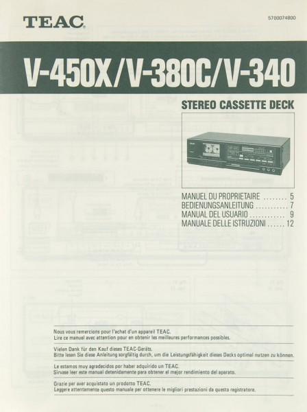 Teac V-450 X / V-380 C / V-340 Bedienungsanleitung