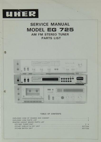 Uher EG 725 Schaltplan / Serviceunterlagen