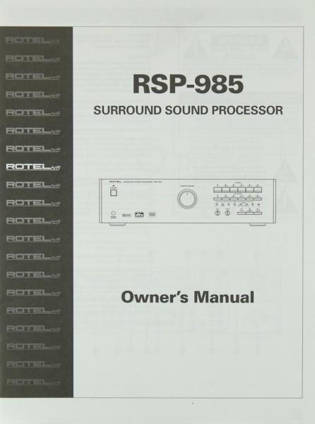 Rotel RSP-985 Bedienungsanleitung