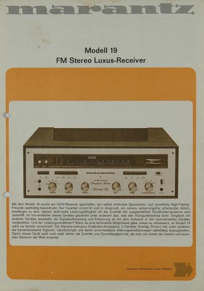 Marantz Model 19 Prospekt / Katalog