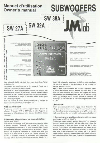 JM Lab SW 27 A / SW 32 A / SW 38 A Bedienungsanleitung