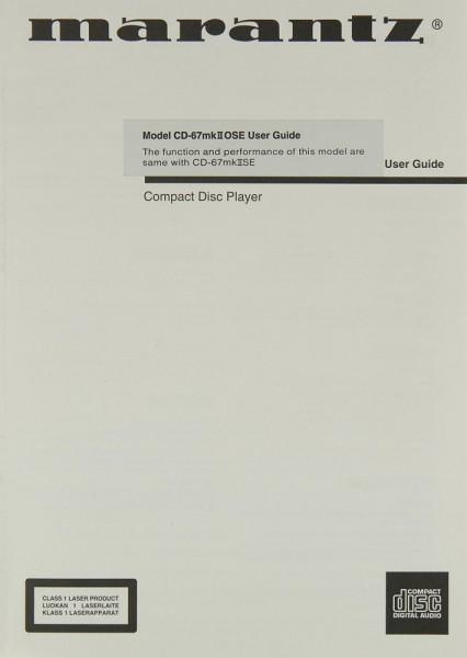 Marantz CD-67 MK II OSE Bedienungsanleitung