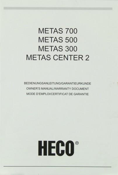 Heco Metas 700 / 500 / 300 / Metas Center 2 Bedienungsanleitung