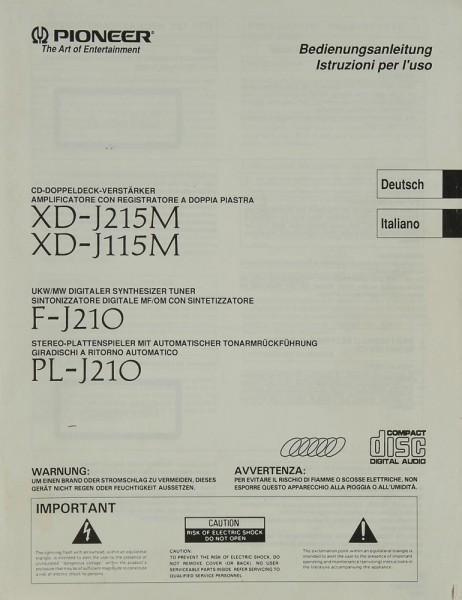 Pioneer XD-J 215 M / XD-J 315 M / F-J 210 & PL-J 210 Bedienungsanleitung
