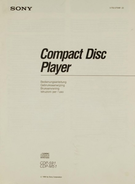 Sony CDP-591 / CDP-M 51 Bedienungsanleitung