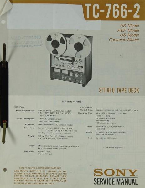 Sony TC-766-2 Schaltplan / Serviceunterlagen