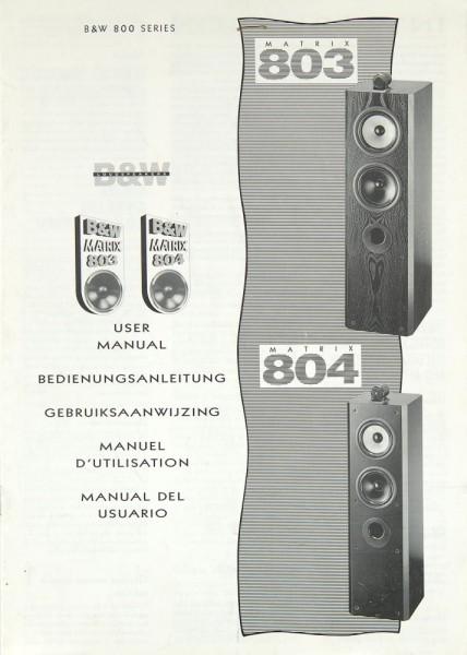 B & W Matrix 803 / Matrix 804 Bedienungsanleitung